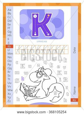 Letter K And Funny Cartoon Hand Drawn Unicorn. Alphabet A-z. Coloring Page. Printable Worksheet. Han