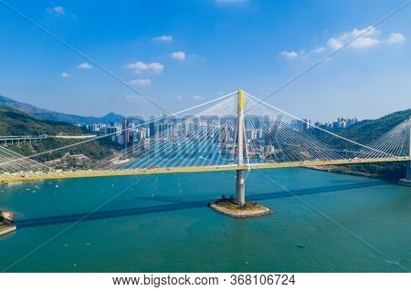 Hong Kong, 24 November 2019: Top view of Ting Kau bridge