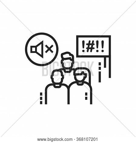 Silent Protest Line Black Icon. Non Verbal Communication. Social Protest. Pictogram For Web Page, Mo