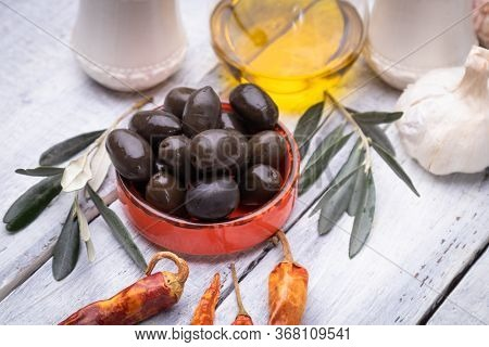 Pickled olives ready to eat, healthy food used in mediterranean cuisines