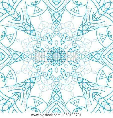 Mandala Kaleidoscope Pattern In Abstract Style On White Background.