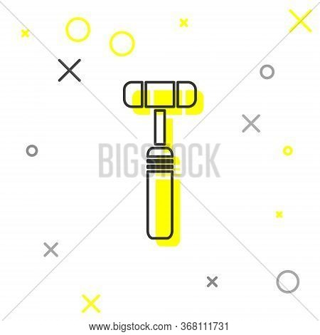 Grey Line Neurology Reflex Hammer Icon Isolated On White Background. Vector Illustration