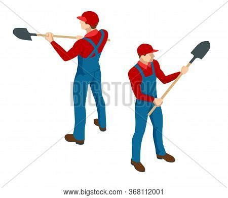Isometric Farmer In Working Clothes With A Shovel In Hand. Construction Worker With A Shovel. Worker