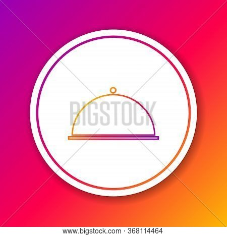 Color Line Covered With A Tray Of Food Icon Isolated On Color Background. Tray And Lid. Restaurant C
