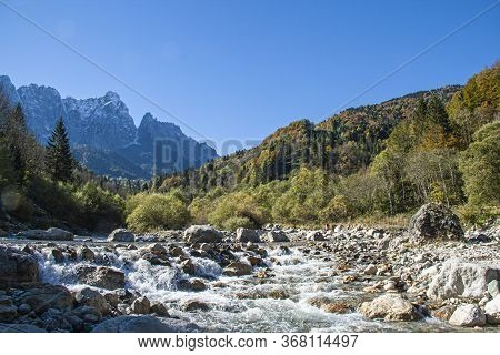 Mountain Landscape With Torrent On The Dolomites During Day In Autumn