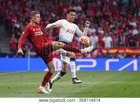 Madrid, Spain - June 1, 2019: Jordan Henderson Of Liverpool (l) And Dele Alli Of Tottenham Pictured