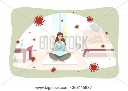 Quarantine, Coronavirus, Meditation, Protection Concept. Woman Girl Doing Yoga Pose Exercise Under G