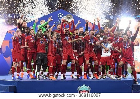 Madrid, Spain - June 1, 2019: Liverpool Players Pictured During The Award Ceremony Held After The 20