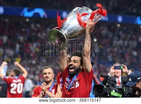 Madrid, Spain - June 1, 2019: Mohamed Salah Of Liverpool Pictured During The Award Ceremony Held Aft