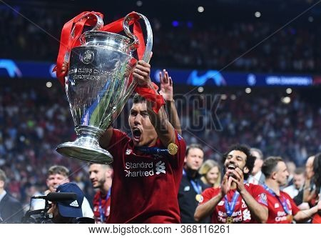 Madrid, Spain - June 1, 2019: Roberto Firmino Of Liverpool Pictured During The Award Ceremony Held A