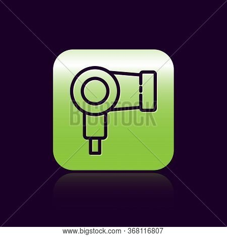 Black Line Hair Dryer Icon Isolated On Black Background. Hairdryer Sign. Hair Drying Symbol. Blowing