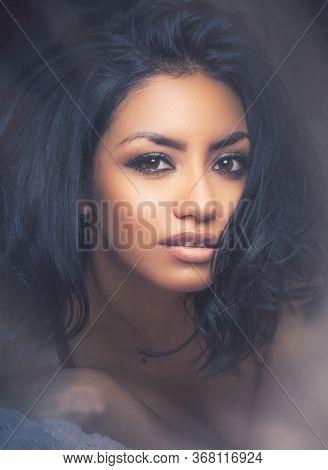 Beautiful woman's face, beauty makeup concept