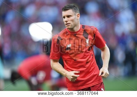 Madrid, Spain - June 1, 2019: James Milner Of Liverpool Pictured Prior To The 2018/19 Uefa Champions