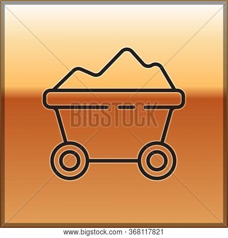 Black Line Coal Mine Trolley Icon Isolated On Gold Background. Factory Coal Mine Trolley. Vector Ill