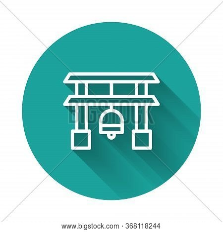 White Line Japan Gate Icon Isolated With Long Shadow. Torii Gate Sign. Japanese Traditional Classic