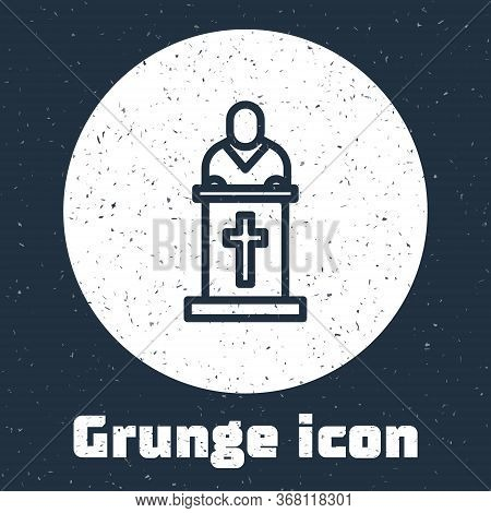Grunge Line Church Pastor Preaching Icon Isolated On Grey Background. Monochrome Vintage Drawing. Ve