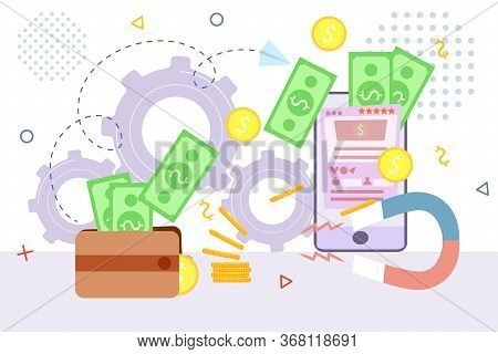 Pay Online, Mobile Payment Or Money Transfer Concept Vector Illustration. E-commerce Market Shopping