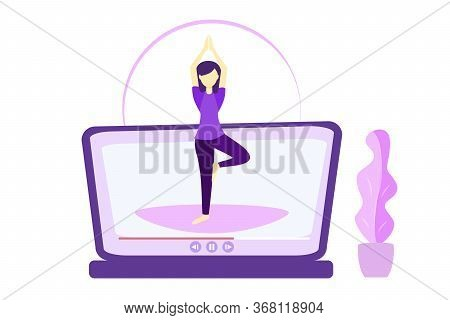 Online Yoga Relaxation Techniques Vector Illustration. Woman Sitting In Yoga Position And Enjoy Calm