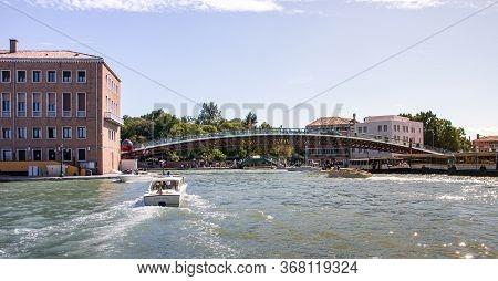 Venice, Italy - September 28, 2015 : Water Channels Of Venice City. Constitution Bridge (ponte Della