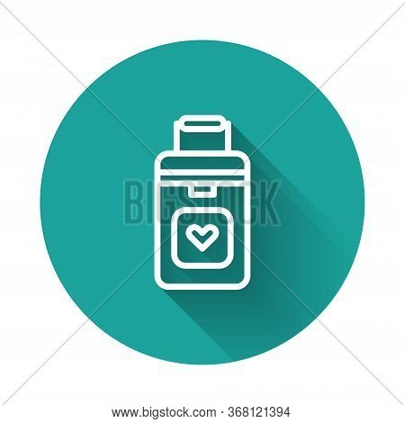White Line Cooler Box For Human Organs Transportation Icon Isolated With Long Shadow. Organ Transpla