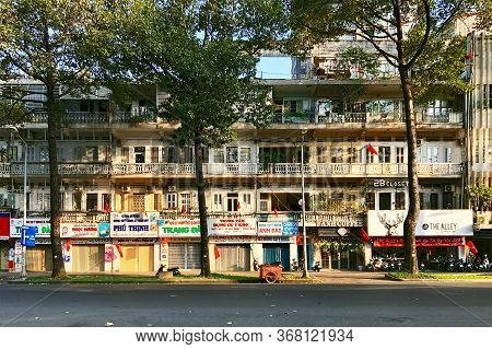 Ho Chi Minh City, Vietnam - February 9, 2019: Cityscape Of Ho Chi Minh City. Traditional Building In