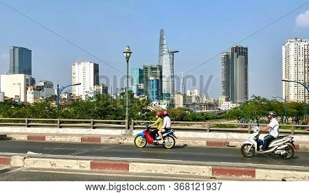 Ho Chi Minh City, Vietnam - February 9, 2019: Modern High-rise Buildings In Downtown Of Ho Chi Minh