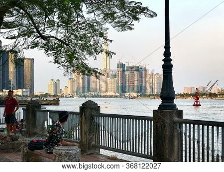 Ho Chi Minh City, Vietnam - February 9, 2019: Cityscape Of Ho Chi Minh City. View Of The River And N