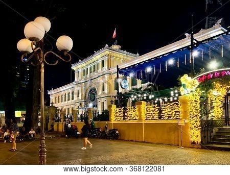 Ho Chi Minh City, Vietnam - February 10, 2019: Ho Chi Minh City Post Office (saigon Central Post Off