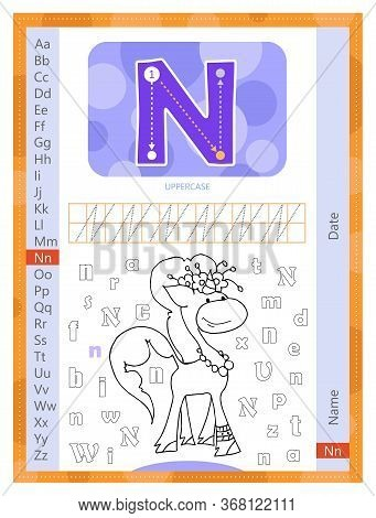 Letter N And Funny Cartoon Hand Drawn Unicorn. Alphabet A-z. Coloring Page. Printable Worksheet. Han