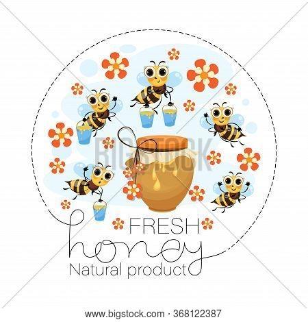 Fresh Flower Honey. Swarm Of Bees. Vector Honey Label, Emblem. Funny Cartoon Characters
