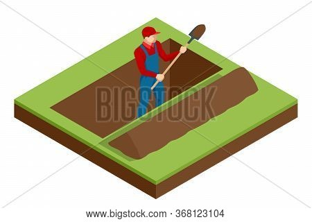 Isometric A Man In Work Clothes Digging A Hole. Construction Worker With A Shovel. Worker Digging Wi