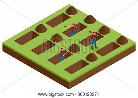 Isometric Men Digging Holes In A Cemetery. A Man Was Digging The Ground In The Cemetery For A Funera