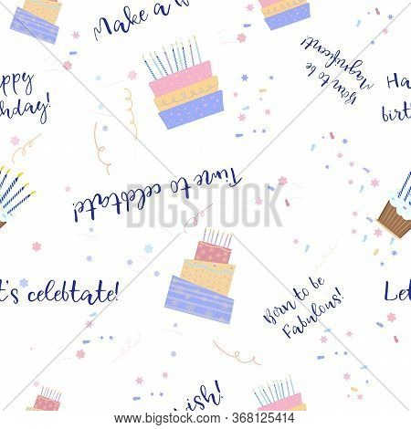 Banner With Wrap Birthday Pattern On Wight Background. Package Design. Wrap Birthday Pattern On Whit