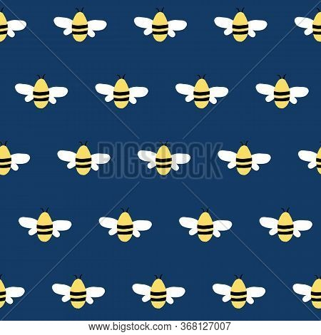 Simple Seamless Blue Vector Repeat Bumble Bee Pattern.
