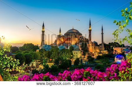 Illuminated Hagia Sophia In Summer Evening Of Istanbul, Turkey