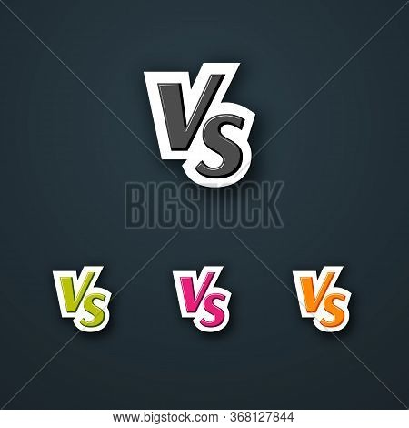 Versus Vs Logo Icon Letter Bright Vs On A Dark Background Set Template Background For Team Competiti