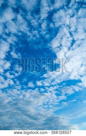 Dramatic blue sky background, vast sky landscape panoramic scene. Colorful sky view in bright tones, blue sky background. Blue sky landscape, vast sky nature. Cloudy sky landscape view