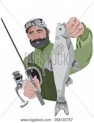 Bearded Fisherman Holding His Fishing Rod And A Fish