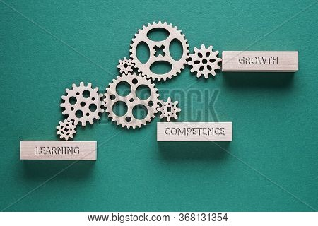 Motivational Words Learning, Competence, Growth - Business Concept. Gears Mechanism On Green Backgro