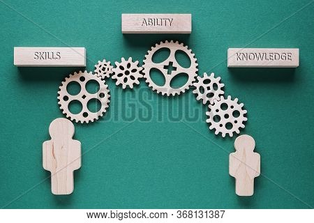 Motivational Words Skills, Ability, Knowledge, Business Concept. Gears Mechanism On Green Background