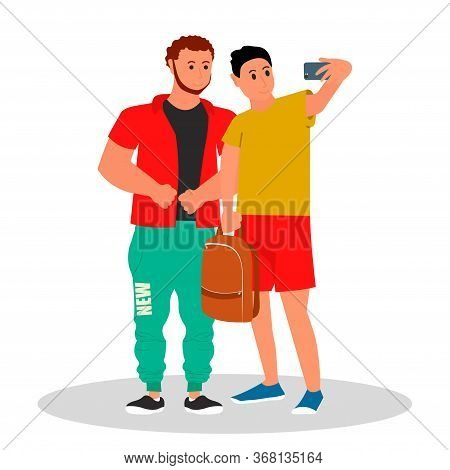 Diverse College Or University Students. Two Student Making A Selfie Photo. Vector Illustration On Wh