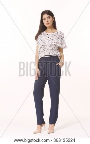 Indian Business Woman In Black T-shirt And Trousers Full Body Isolated On White
