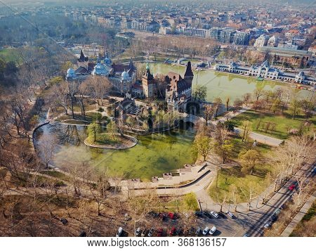 Morning View From Above On The Vajdahunyad Castle And City Park In Budapest. Hungary.