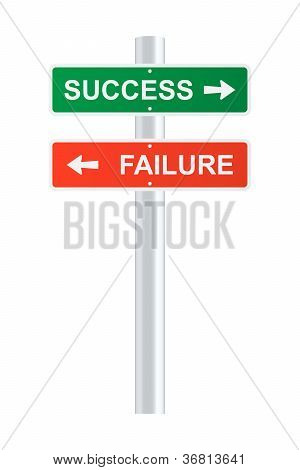 Success And Failure Signpost. Vector Illustration