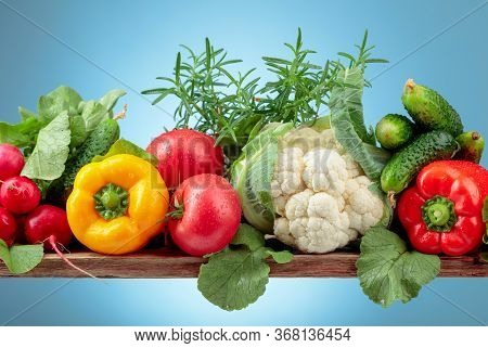 Various Fresh Raw Vegetables, Frontal View, Copy Space.  Cauliflower, Tomato, Cucumber, Radish And P