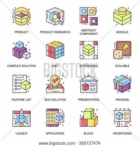 Abstract Product Flat Icons Set. Product Research, Component And Module, Extensible And Scalable Sys
