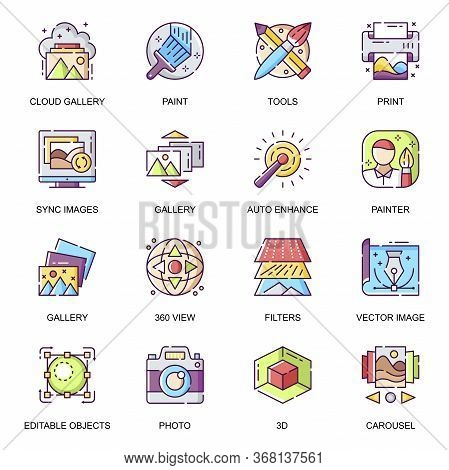 Images Gallery Flat Icons Set. Auto Enhance, Creative Application, Art Tools And Filters, Vector Ima