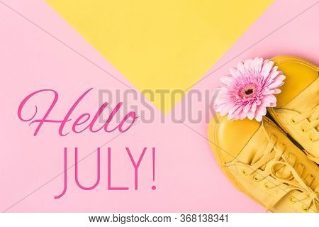 Hello July Text And Pink Gerbera Flower On Pink Background. Hello July Concept