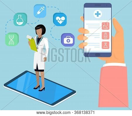 Health And Medical Consultation Application On Smartphone. Online Medical Consultation With Doctor A