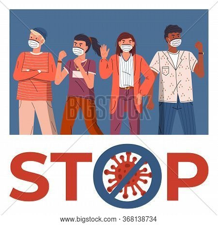 Group Of Multinational Men And Women In Face Medical Masks Protesting Against World Epidemic. Concep